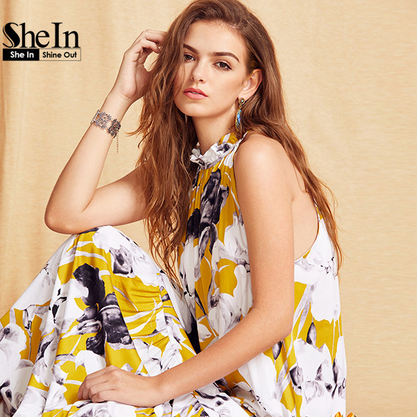 Shein женские летние платья лонг-бич boho дамы новый стиль моды многоцветный цветочный принт рукавов maxi dress