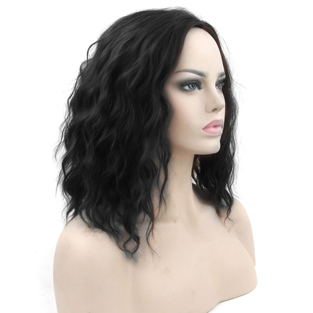 Soowee Short Wavy Black Blonde Cosplay Wigs Synthetic Hair Hair Pieces Party Hair Red Gray Wig for Women