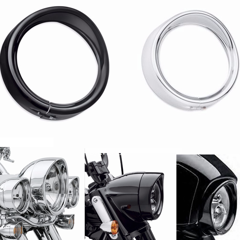 Home Generous Motorcycle Accessories Black/chrome Trim Ring For Harley Touring Road King Electra Glide 7 Led Moto Round Headlight Visor Style Volume Large