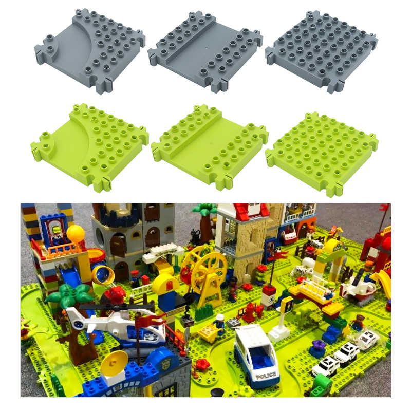 City Traffic Plate Vehicle Orbit Bricks Big Building Blocks Assemble Accessory DIY Children Toys Compatible Duplo Track Boy Gift