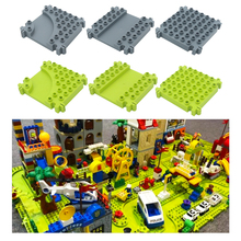 City Traffic Plate Vehicle Orbit Bricks Big Building Blocks Assemble Accessory DIY Children Toys Compatible Duplo Track Boy Gift big particles model building blocks forest paradise house sets children toys diy city bricks compatible with duplo birthday gift