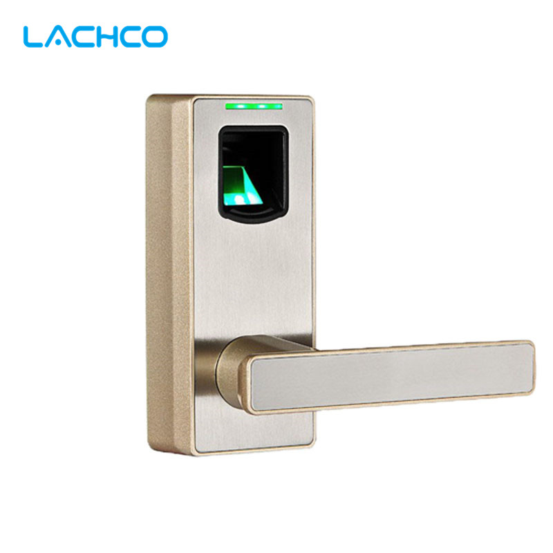 LACHCO Biometric Fingerprint Door Lock with Mechanical Key Free-style Handle Smart Entry Intelligent Electric Keyless L16089CH lachco intelligent electronic door lock rfid card with key for home hotel apartment office smart entry l16017sg