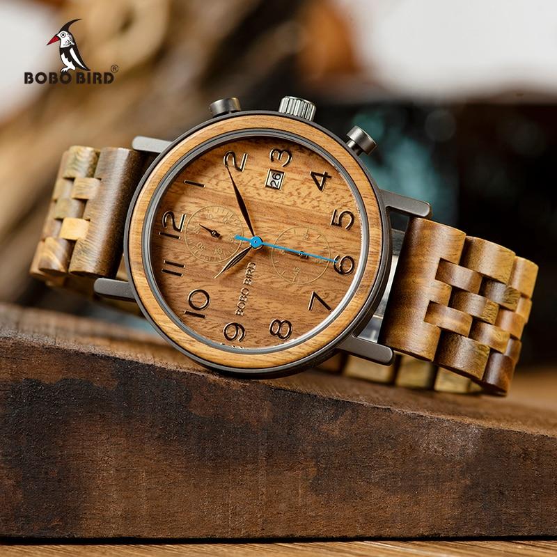 BOBO OISEAU montres homme Top Marque De Luxe Hommes Bois montres groupe En Bois montre-bracelet Hommes de Grands Cadeaux Relogio Masculino