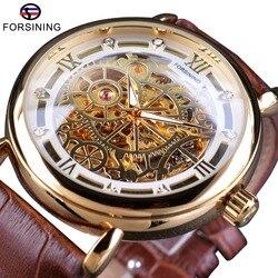 Forsining klasyczny królewski Design brązowy skórzany złoty przezroczysty otwórz pracy mężczyzn automatyczne szkielet zegarki Top marka luksusowe