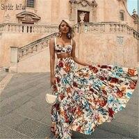 Women Summer Boho Beach Long Dress 2 Piece Set Print Spaghetti Strap Sexy Vintage Maxi Dress Plus Size 3XL Elegant Party Dress