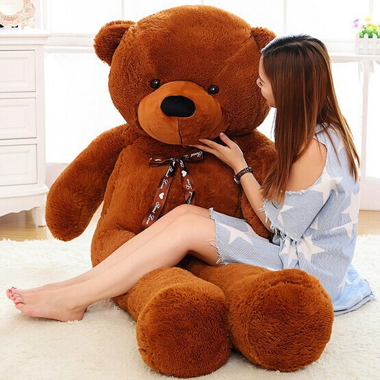 180cm Giant teddy bear big brown plush toys Life size stuffed animals baby dolls women Children soft peluches - Go To Factory store