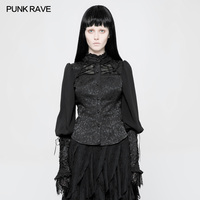 PUNK RAVE Gothic Black Retro Jacquard Floral Blouse Lace Sleeve Lolita Women Shirt Party Formal Female Top Shirt