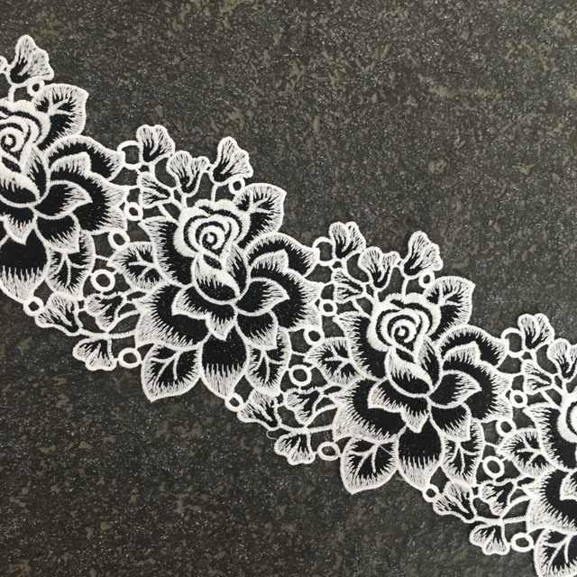 12cm Width 1 yard black white rose High quality Diy embroidered lace White lace  trim