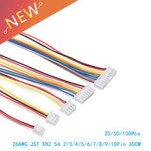 100/50/20 unids/lote 26AWG JST XH2.54/2/3/4/5/6/7 /8/9/10 Pin XH-2.54 paso 2,54mm conector con Cable de 30 cm de longitud(China)