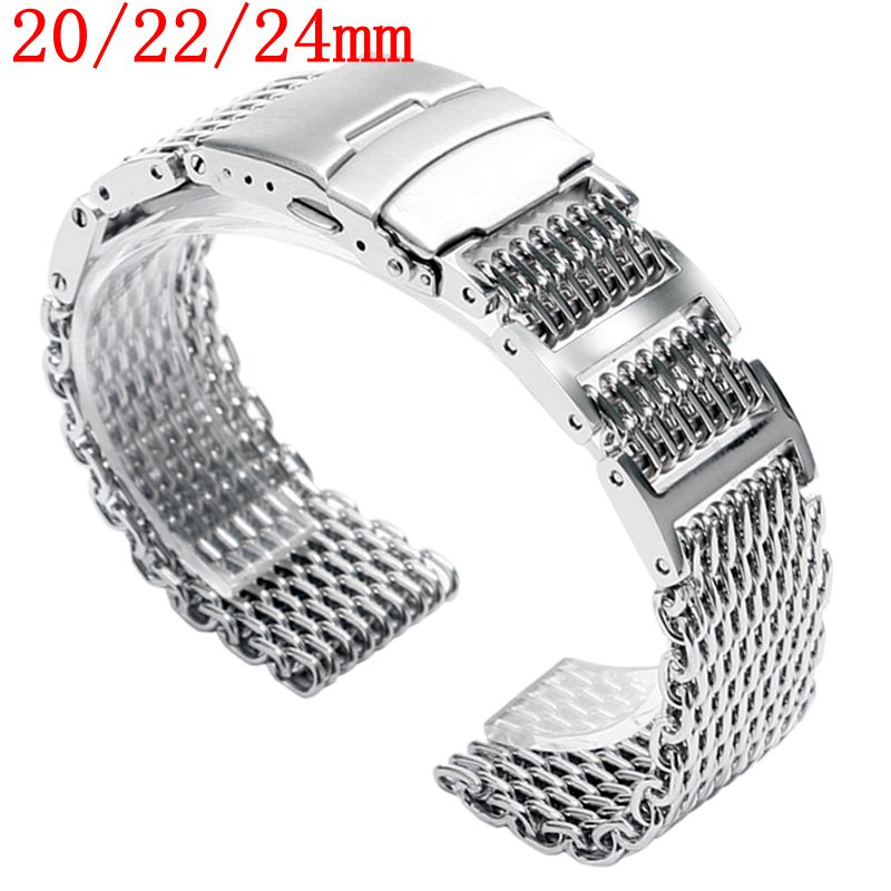 20/22/24mm Solid Link Silver Stainless Steel Bracelet Shark Mesh Folding Clasp with Safety Men Watch Band Strap HQ Push Button 1pc silver stainless steel men wrist watch bracelet strap 16 22mm watchbands with push button buckle clasp men watch accessorie