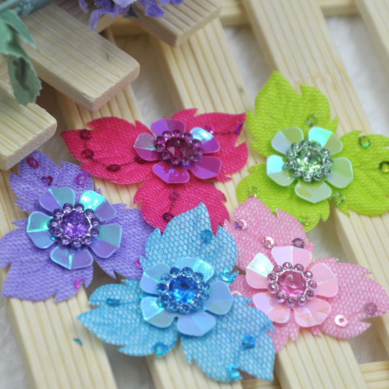60Pcs Mix Padded Felt Rhinestone Flower Appliques Scrapbook Craft B314