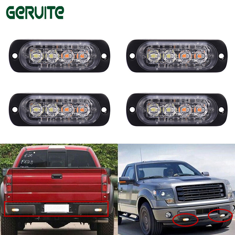 12-24V 4 Led Strobe Warning Light Amber White Strobe Emergency Grille Flashing Lightbar Truck Car Beacon Slim Bright Car-Styling bright amber 24 led strobe light warning emergency flashing car truck construction car vehicle safety 7 flash modes 12v