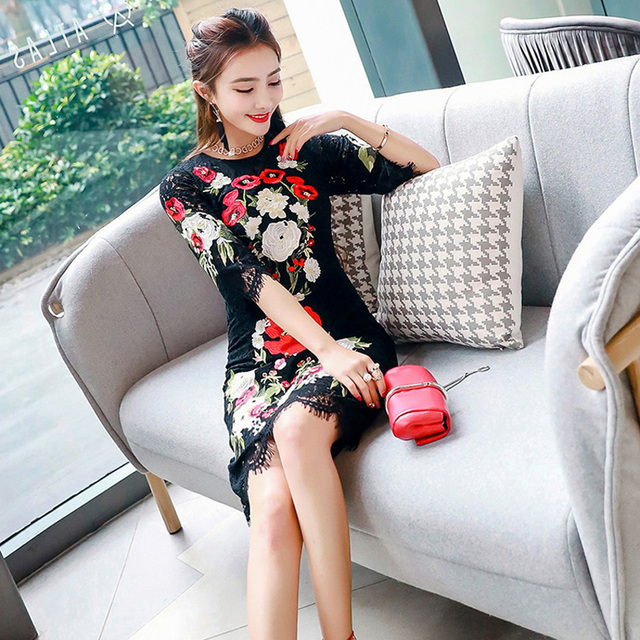 Round neck embroidery long black lace dress