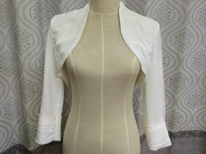 Lange mouw kanten bolero sjaal en wikkel chiffon Fourrure wit ivoor - Bruiloft accessoires - Foto 3