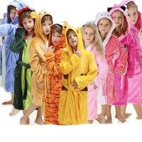 Flannel Animal Bear Tigger Stitch Pokemon Pikachu Onesie Pajamas Children Fantasia Cosplay Costume Hooded Robes For