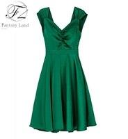 2017 Summer Party Sexy Dress Femmes LA LA LAND Miya Vintage Vert Foncé Mince V-cou Dos Nu Princesse Parti Élégant Robes femmes