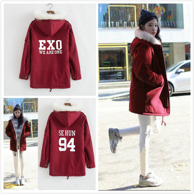 Luhan exo same paragraph Sehun padded long section Korean version plus thick velvet cashmere coat women fashion Kpop