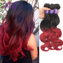 8A Ombre Brazilian Hair Body Wave 1b/Burgundy Two Tone Ombre Human Hair Weave Extensions 3 Bundles Ombre Virgin Hair Body Wave