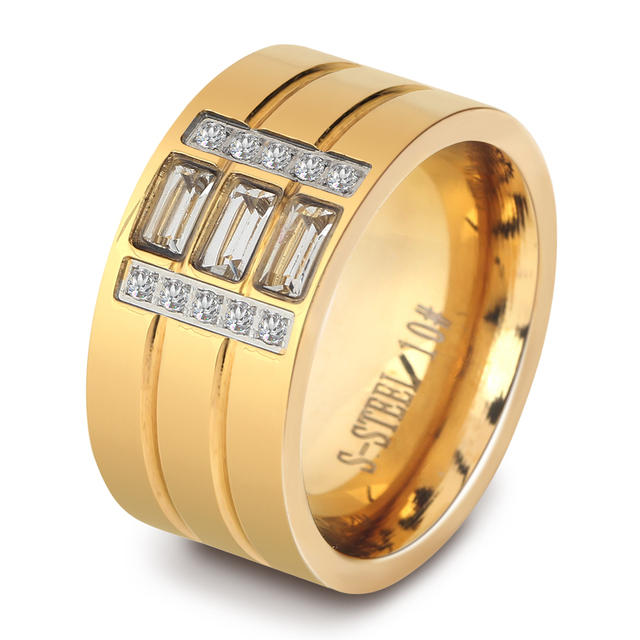 Anelli Dichiarazione di moda Per Le Donne Bianco Zircone Color Oro In Acciaio Inox Anelli di Fidanzamento di Nozze Per Gli Amanti Degli Uomini