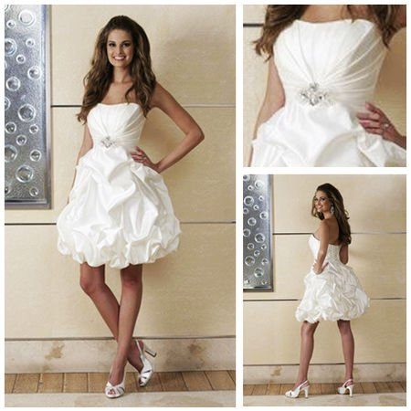 Free shipping mw2083 mini strapless sleeveless beaded for Short wedding dresses 2012