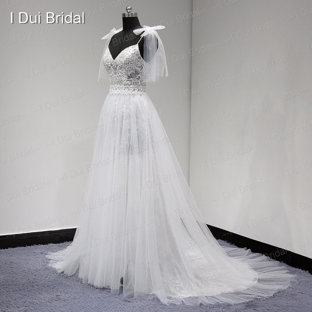 Nytt Stil Verkligt Foto Bröllopsklänning Spaghetti Bow Tie Strap En - Bröllopsklänningar - Foto 6