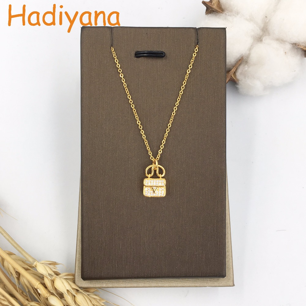 HADIYANA Pendant Necklaces Little Bag Hand Bag Date Jewelry Sweet Cool CZ Stones Brand Designer White Gold Lady Women Gift XL217