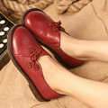 Handmade leather flat shoes women retro soft bottom shoes women driving shoes round toe comfortable