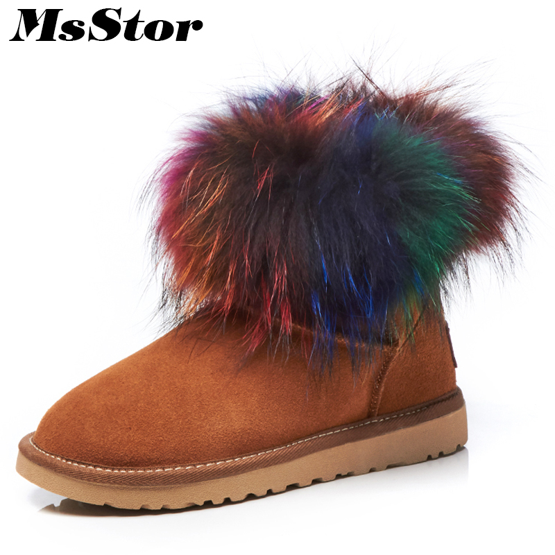 MsStor Women Snow Boots Flat Heel Fur Keep Warm Ankle Boots For Woman Winter Mixed Colors Wool Blend Cotton Snow Boots For Girl
