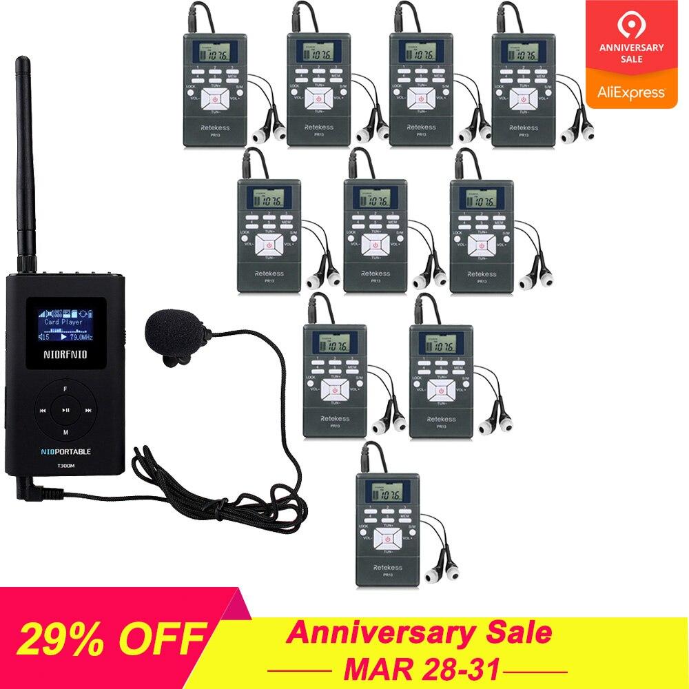 1 FM передатчик + 10 FM радио приемник PR13 беспроводной гид системы для руководства встречи синхронного перевода