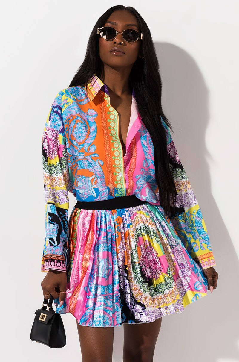 2 Pieces Set Sexy Autumn Africa Fashion Women Set 2019 Female Tops Floral Print Long Sleeve Shirt Elastic Waist Mini Skirts