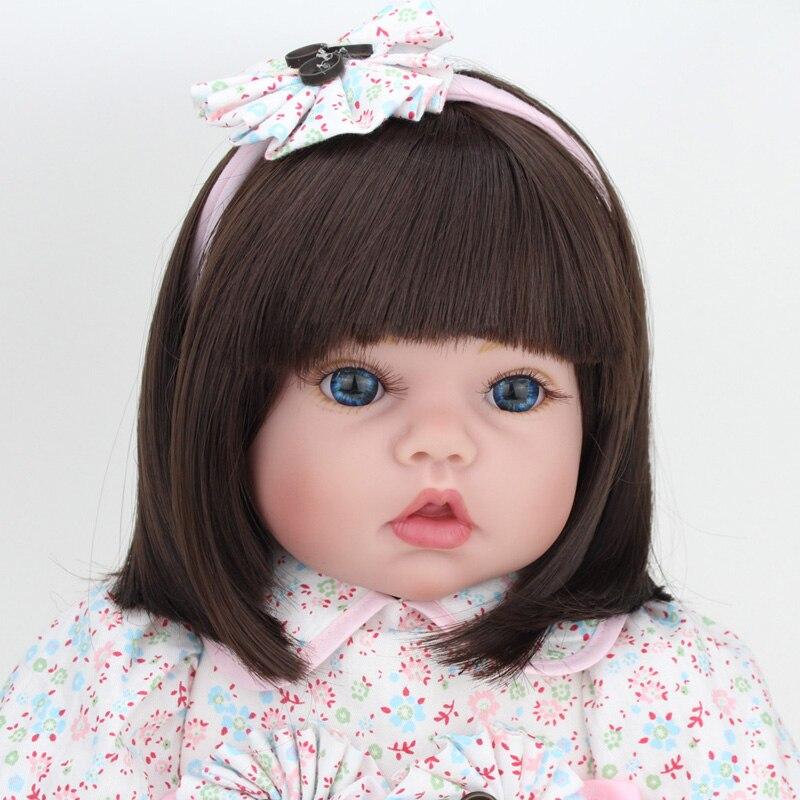 22 дюйма кукла ручной работы Reborn силиконовая виниловая Bebe куклы милая кукла девочка с одеждой медведь Menina De силиконовый детский подарок - 4