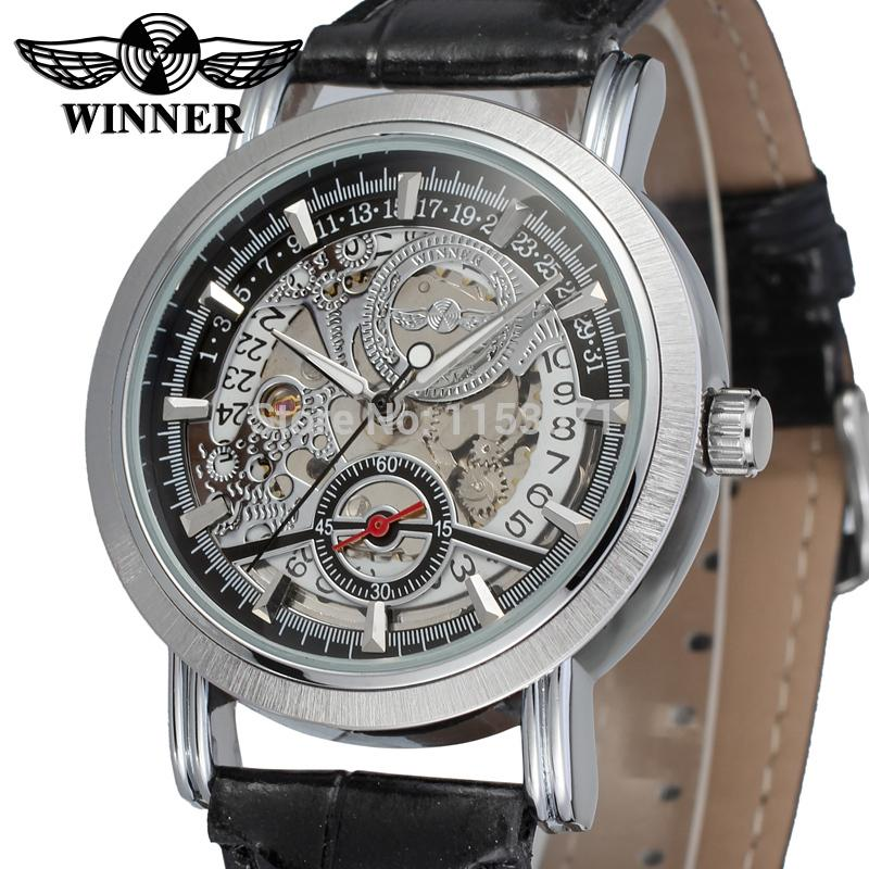где купить WRG8077M3S3 winner brand new arrival Automatic silver  skeleton watch for  men with black leather band wristwatch free shipping по лучшей цене
