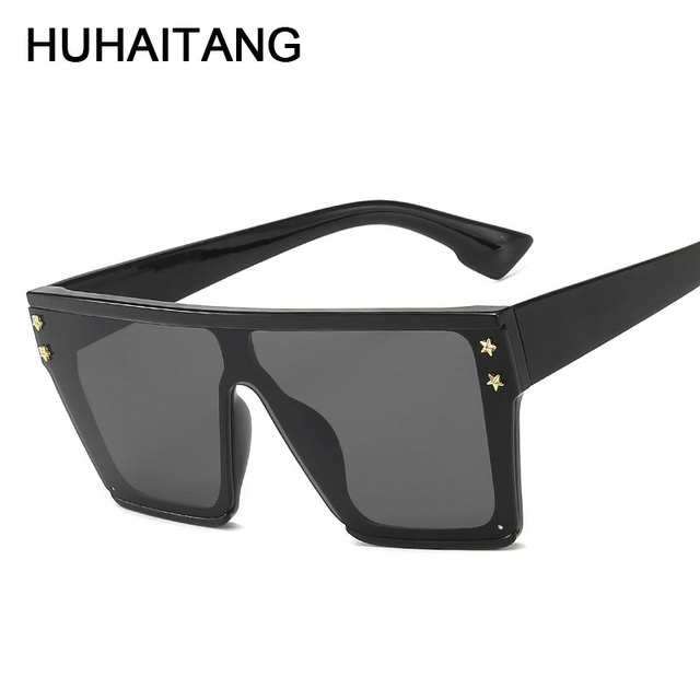 HUHAITANG Oversized Square Flat Sunglasses Women Vintage Luxury Brand Designer Sun Glasses Men Retro Classic Woman For Sunglass