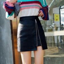 Aelegantmis элегантная шикарная черная юбка из искусственной кожи Женская мини-юбка на молнии с высокой талией Повседневная Летняя короткая юбка женская юбка трапециевидной формы