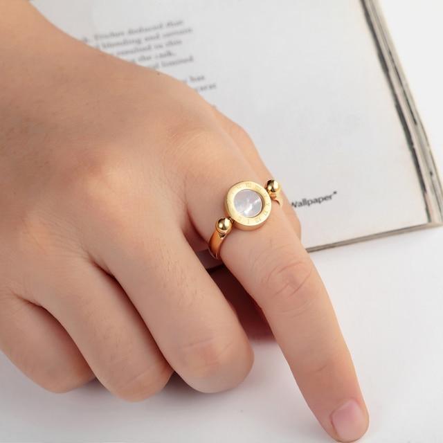 Купить женское кольцо из нержавеющей стали с эмалью и ракушками классический