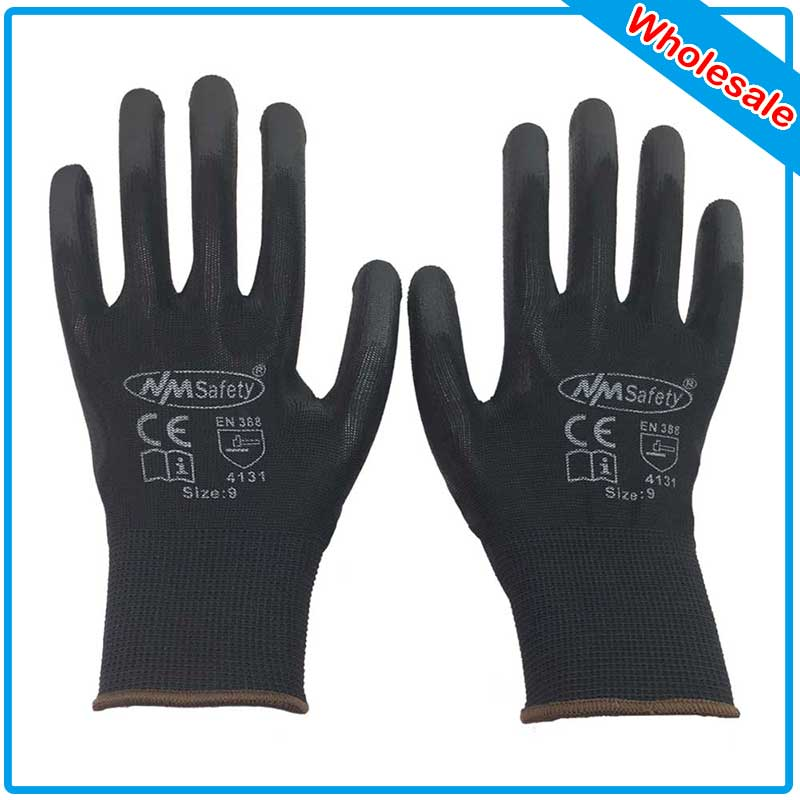 NMSAFETY Fast Shipping 300 Pairs Wholesale Work Glove Black Polyester/nylon Electrician Safety Gloves