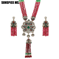 SUNSPICE MS 2018 New Arrivals Nigerian Wedding Vintage Necklace Earring For Women Handmade African Beads Jewelry Sets Party Gift