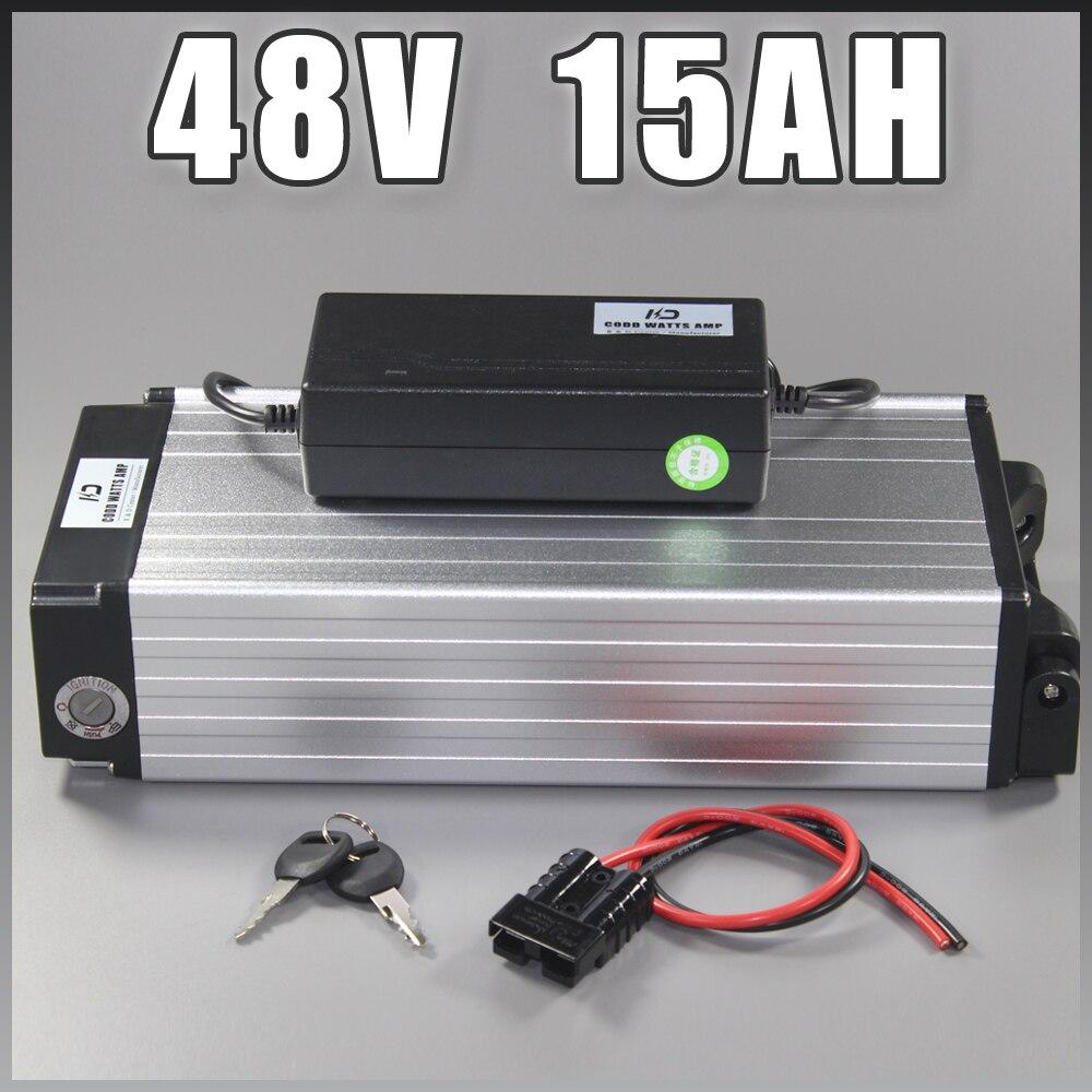 Batterie électrique d'ion de lithium de bicyclette de 48 V 15AH batterie de 48 v 1000 w