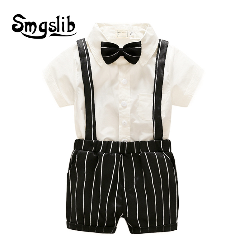 Baby boy romper Tie Gentleman Suit Bow Leisure Body Suit Clothing Infant Toddler jumpsuit baby onesie first birthday boy party