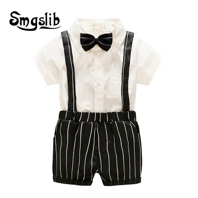 f4efcaa19 Bebé niño mameluco corbata Caballero traje arco de ocio traje de cuerpo Ropa  Infantil Niño mono