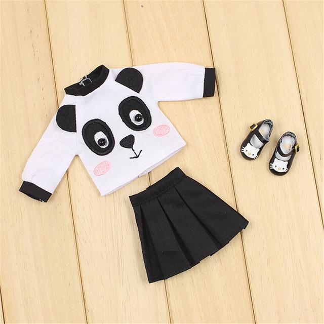 Neo Blythe Doll Panda Shirt With Black Skirt & Kitty Shoes