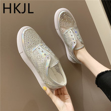 HKJL 2019 spring new net surface water drilling full of loafers small white shoes casual single A563