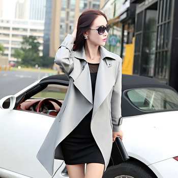 European and American women new 2017 spring and autumn women Slim classic fashion coat long fashion jacket Windbreaker. 160 4