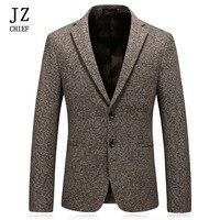 JZ главный мужской блейзер, пиджак, повседневный твидовый Блейзер, Masculino, деловой костюм, куртка, хлопковый толстый костюм, блейзер, мужская к