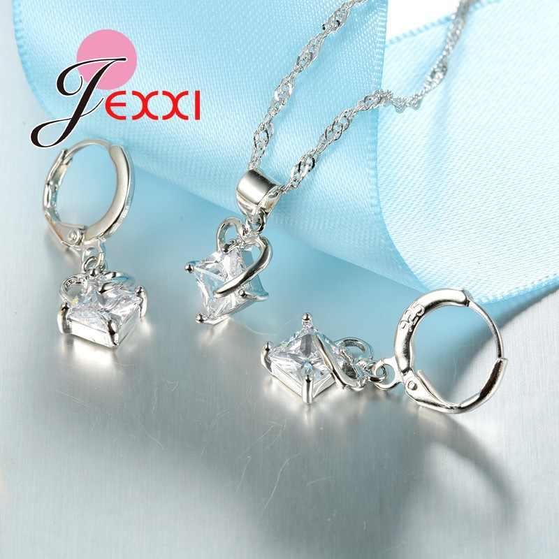CZ Drop Anhänger Hohle Herz Anhänger Halskette Ohrringe für Frauen 925 Sterling Silber Schmuck