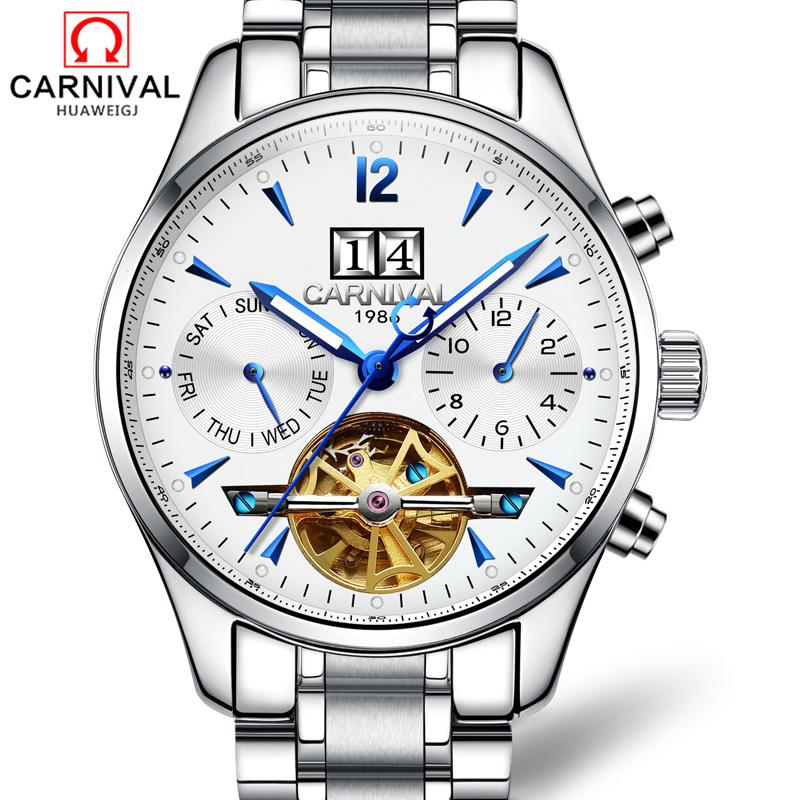 High Quality Mechanical watches CARNIVAL Luxury Business Men Watch Top brand tourbillon Automatic Watch men Luminous kol saati forsining full calendar tourbillon auto mechanical mens watches top brand luxury wrist watch men erkek kol saati montre homme