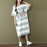 2017 Summer Korean Casual Women Dress Loose Striped Cartoon Print Cotton O Neck Short Sleeve Tshirt