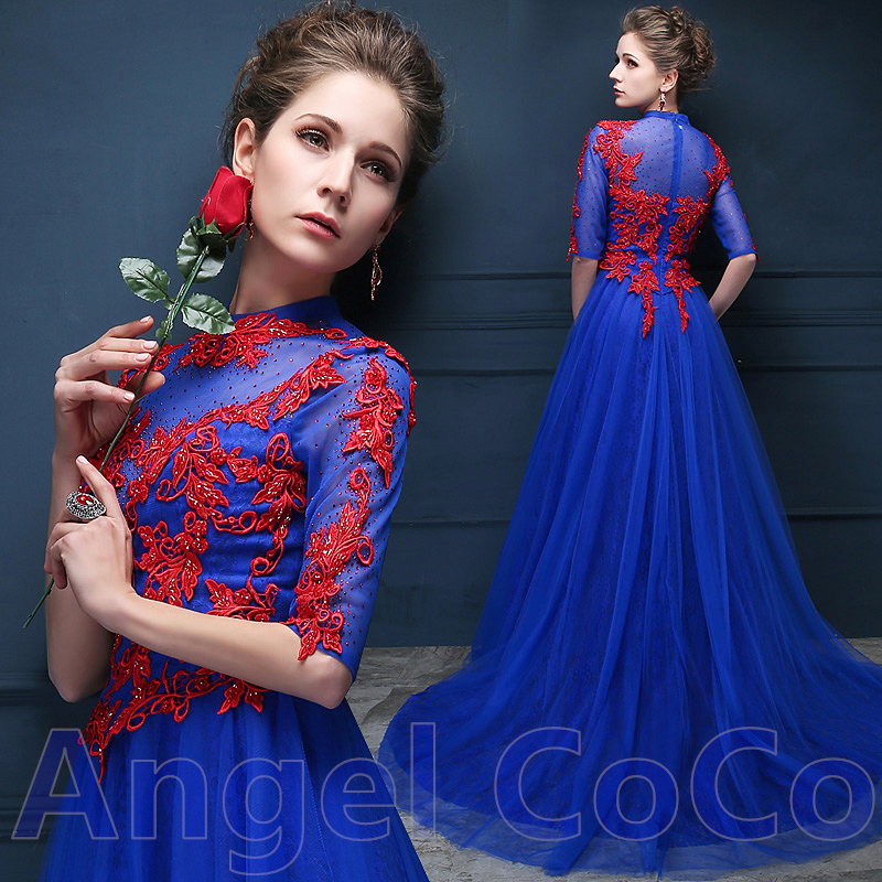 Elegant Satin Royal Blue Beaded Embroidery Long Evening Dress Party Gown Moroccan Kaftan Prom Dresses Saree Vestidos De Fiesta