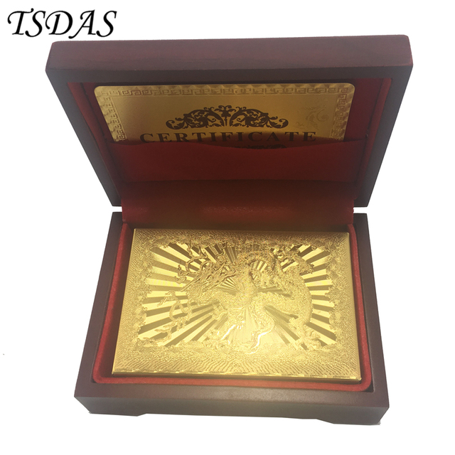 24k Carat Gold Foil Plated Cards Playing Gift Collection Chinese Dragon Card