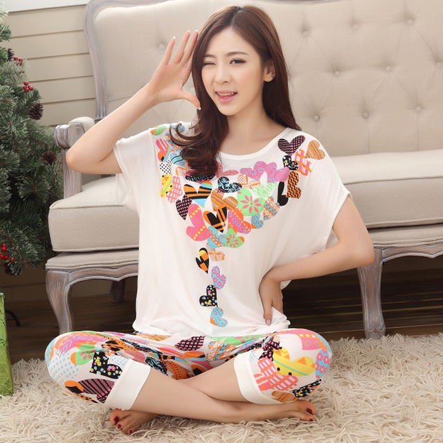 Women Summer Pajama Set Short Sleeve Ladies Pyjama Ladies Comfortable  Homewear Modal Fabric Good Quality Home Clothing Set 73f8689756